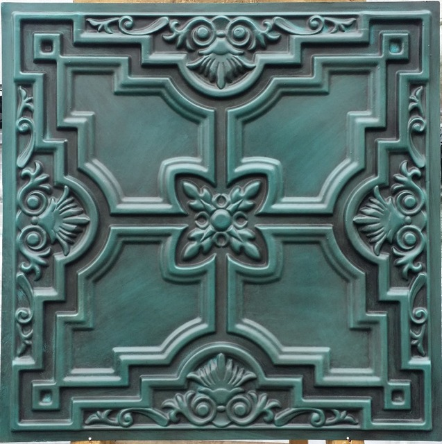 PL16 faux finish colored ceiling tiles antique cyan color three ...