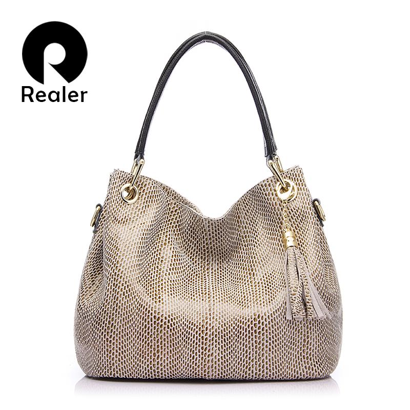 Prix pour REALER marque sac à main des femmes en cuir véritable sac femelle hobos sacs à bandoulière de haute qualité en cuir fourre-tout sac