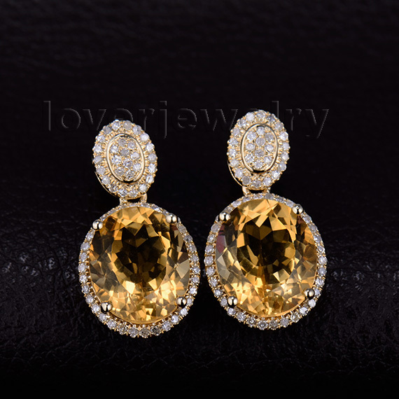 2017 Trendy Citrine Earrings With Natural Diamond In Solid 14kt Yellow Gold Oval 10x12mm We056b
