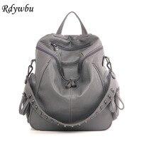 Rdywbu Luxury Rivet Studded Glitter Multi Function Bag Larger Capacity Women Leather Backpack Shoulders Bag Bolsa