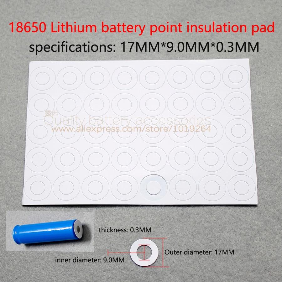 100 pçs/lote 18650 bateria de lítio de alta temperatura de isolamento junta 18650 oco superfície plana pad isolamento 17*9.0*0.3 méson