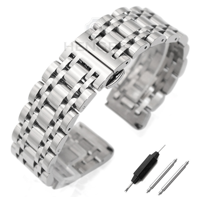 Stainless Steel Watchband Bracelet 20mm 22mm Men Metal Polished Watch Band Strap Clocks Accessories