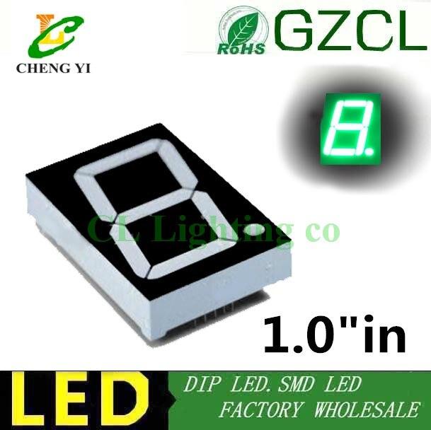 Ultra bright 1inch Pure green 1 inch 7 Segment 1in LED Display dual chip Nixie tube 1 Bit Digital Tube cathode/anode