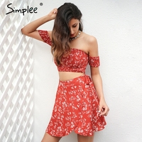 Simplee Off Shoulder Two Piece Floral Print Dress Women 2017 Vintage Party Bow Tie Short Dress