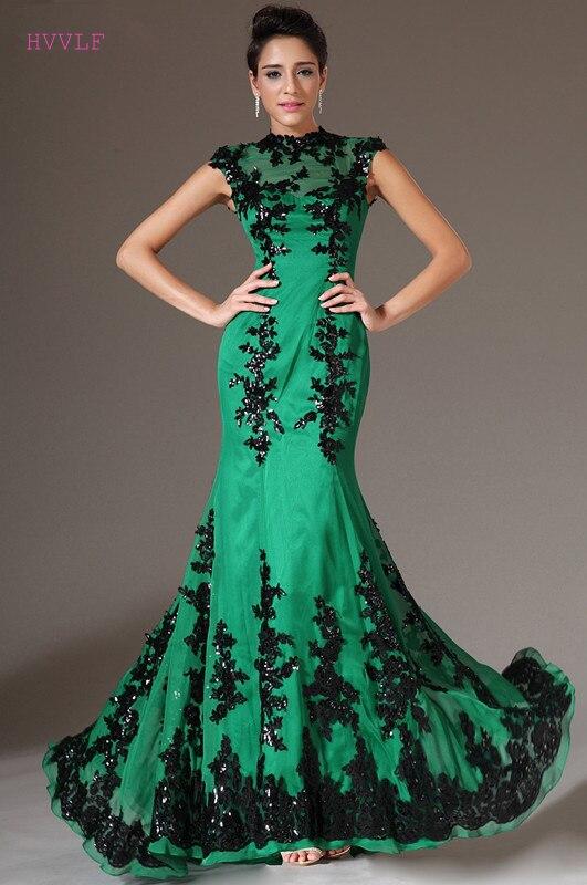 Green Evening Dresses 2018 Mermaid Cap Sleeves Chiffon Beaded ...