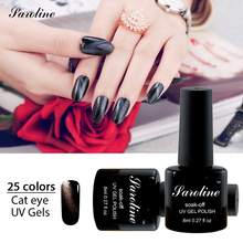 Saroline UV Soak Off 3D Cat Eyes Glitter Chameleon Nail Gel Polish need to use Black Base Gel Magnet Effect Sticker