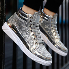Superstar boots men's sneakers plus size 39-45 spring/autumn 2018 new arrival sequined cloth sexy bling Man Vulcanize Shoes