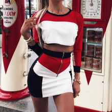 Two Piece Set Outfits Sexy Women Long Sleeve Crop Tops + Bik