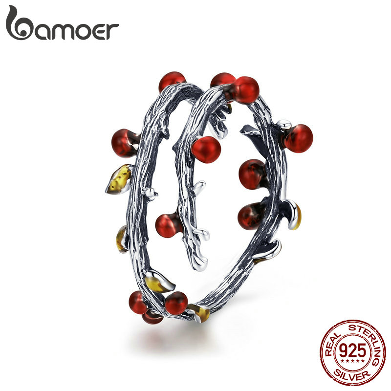 BAMOER Real 925 Sterling Silver Autumn Withered Tree Leaves Adjustable Finger Rings