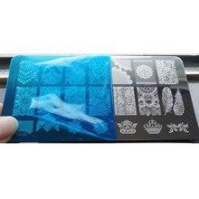 20 Diseños Nail Art Stamping Placas de Acero Inoxidable Sello Del Clavo Polaco Manicura Herramienta Sello Plantillas Plantillas Del Clavo Impresora BN034