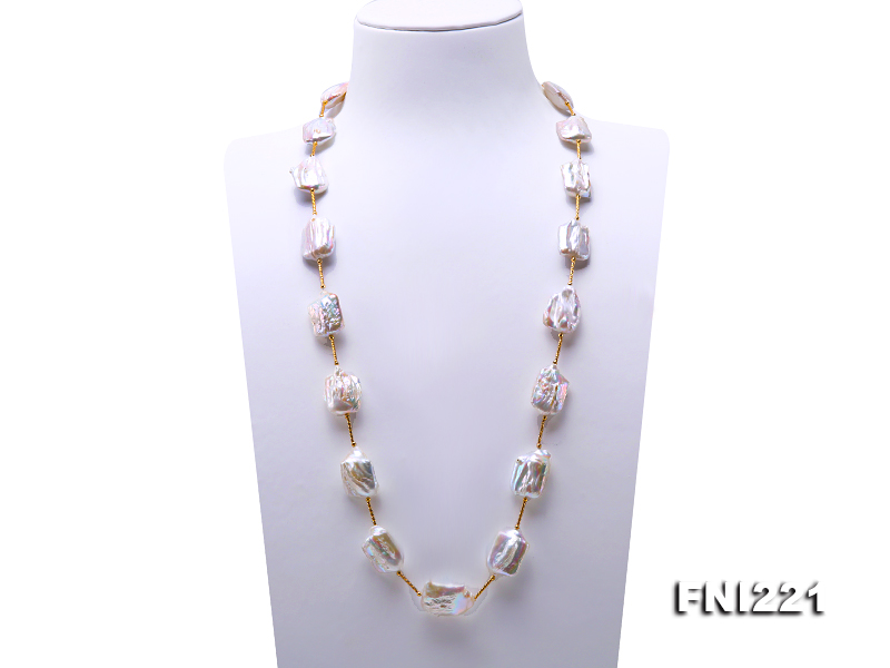 31inches Long Pearl Jewellery Gold Tube White Color Natural Freshwater Pearl Necklace,AA 17X24-18.5X26mm Huge Pearl Jewelry31inches Long Pearl Jewellery Gold Tube White Color Natural Freshwater Pearl Necklace,AA 17X24-18.5X26mm Huge Pearl Jewelry