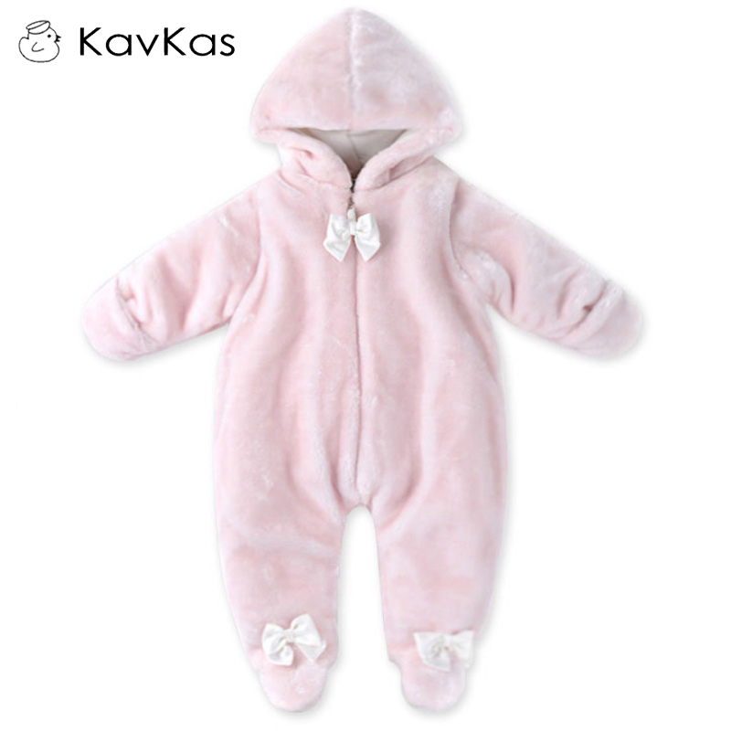 Kavkas Baby Hooded Rompers Fur Princess Pink Winter Warm Clothes Soft Cotton-Padded Infant Newborn Boy Girl Plush Jumpsuit 0-9M newborn baby clothes winter baby boy clothes cotton romper jumpsuit gentleman costume baby rompers infant boy clothes 0 12m