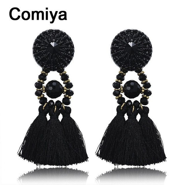 e652ec85f2669e Exaggerated black dangle crystal rhinestone best gifts for party black  tassel retro ethnic drop earrings bohemia earring jewelry