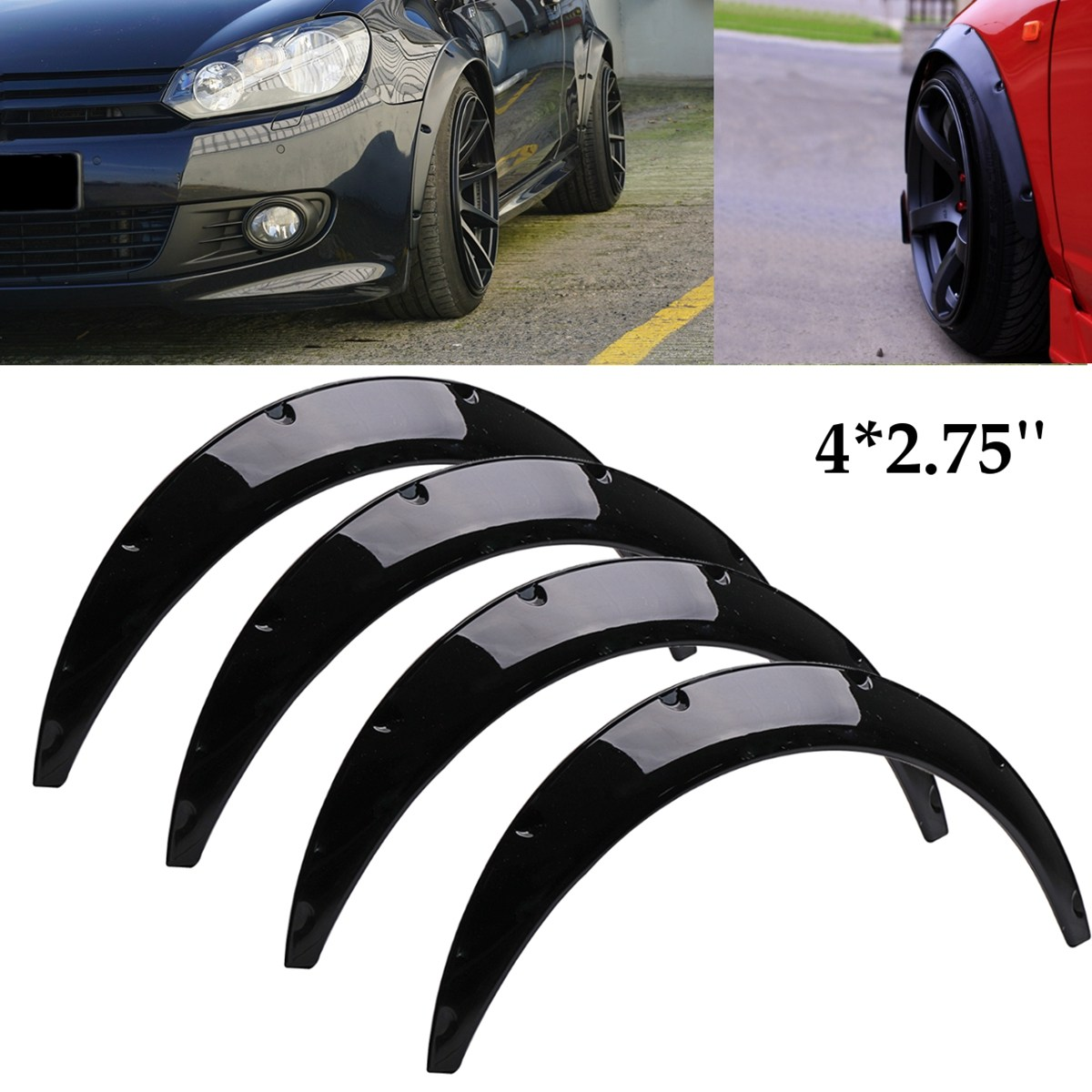 4Pcs 2.75 inch Universal Gloss Black Flexible Car Body For Fender Flares Extension Wide Wheel Arches helo he866 gloss black wheel with chrome accents 20x8 5 6x135mm