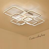Double Glow High Brightness Modern Led Chandelier For Living Room Bedroom Square Circle Rings Avize Ceiling