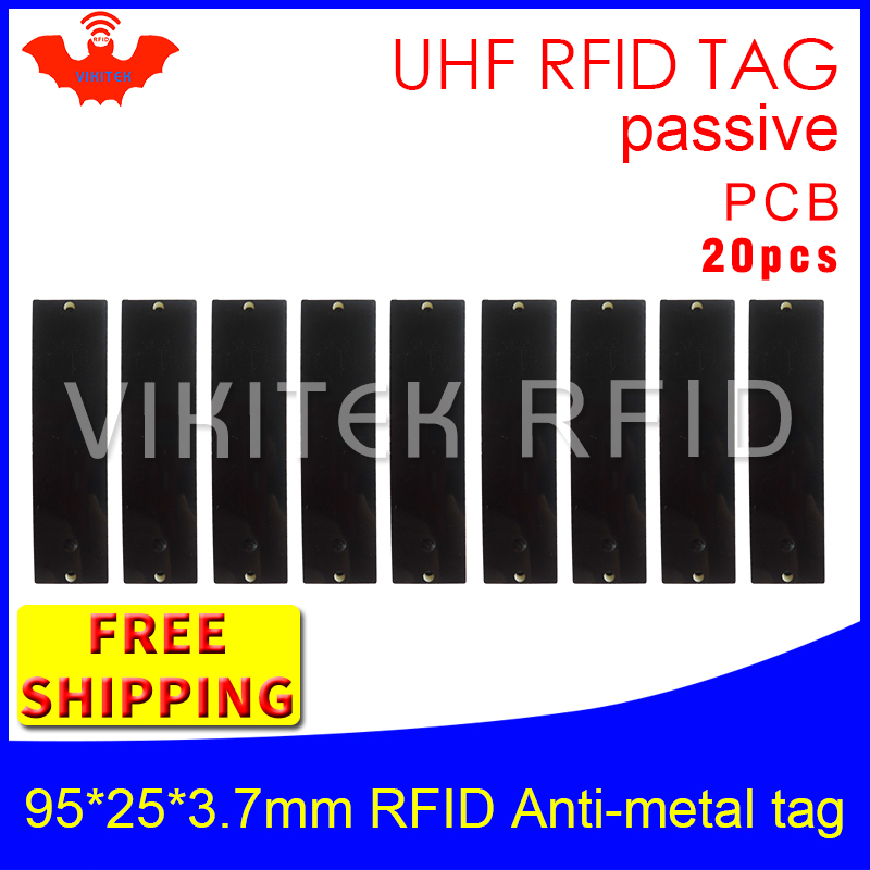 UHF RFID metal tag 915m 868m EPC 20pcs free shipping fixed-assets management 95*25*3.7mm long distance PCB passive RFID tags 860 960mhz long range passive rfid uhf rfid tag for logistic management