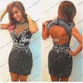 Stunning Black Short High Neck Prom Dresses 2016 Sexy Women Backless Crystal Beaded Dress Cocktail Party Vestido De Festa Curto