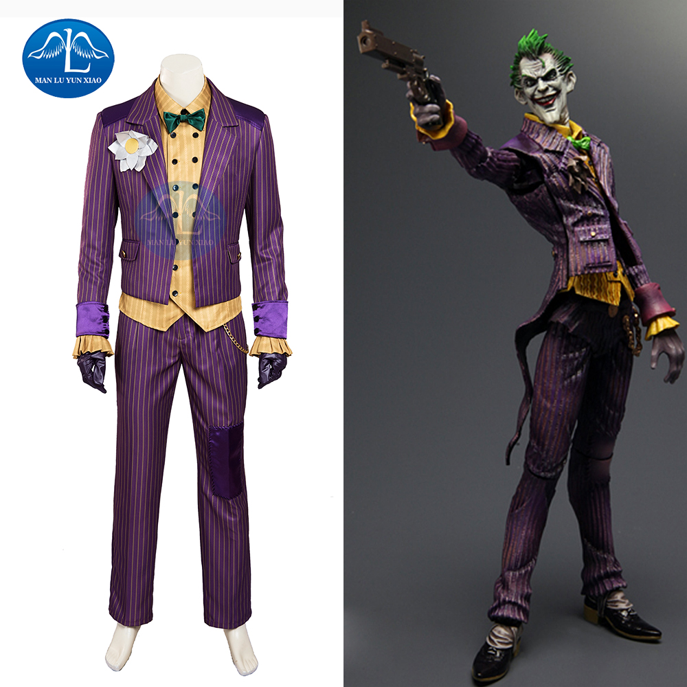 MANLUYUNXIAO Hot Sale Batman Arkham Asyl Joker Cosplay Kostym Herr Halloween Joker Kostym För Herrar Full Set Custom Made