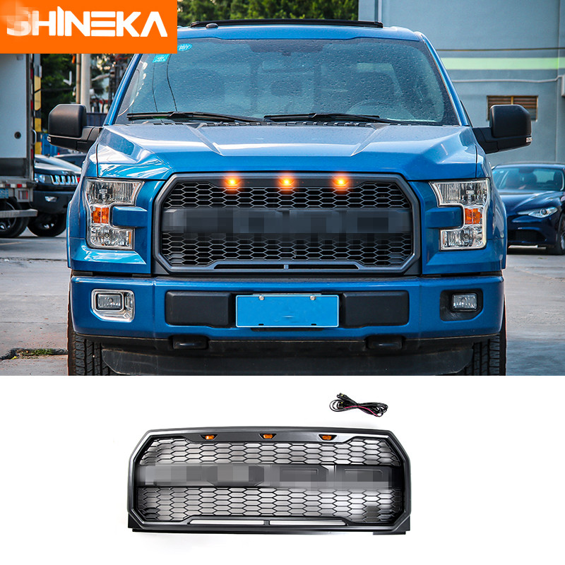 SHINEKA Fit F150 Raptor Style Front Grille with LED F150 Raptor Grille with LED light for Ford F150 2015+ for f150 raptor f 150 led tail light rear lights for ford 2008 2012 year smoke black sn
