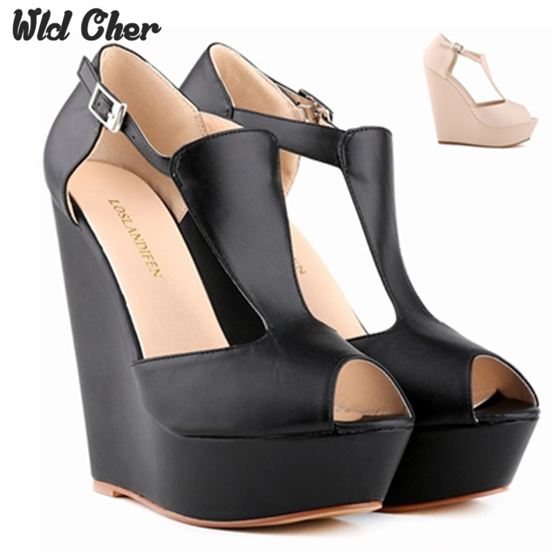 14cm Wedge Platform Thick Crust Wedge Sandals womens 2017 high-heeled Waterproof Matte Fish Head Sandals New Muffin Pumps