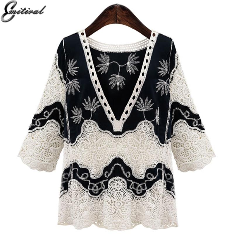 2017 Herbst Mode Vintage Blume Spitze Frauen Shirt Klassisch Schwarz Weiß Elegant Sexy Tiefem V-ausschnitt Weibliche Bluse Plus Größe 4xl Top Verschiedene Stile