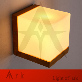 Modern Oak Wood Wall Lamps Cube Sugar Lampshade Bedroom Bedside Wall Light Home Wall Sconce lotus Light Fixtures Indoor Lighting
