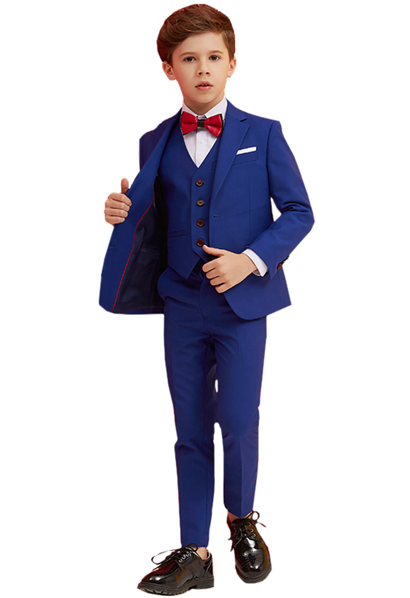5 Piece Boys Suits Blue Slim Fit Ring Bearer Suit For Boys Formal Classic Costume Weddings цена 2017