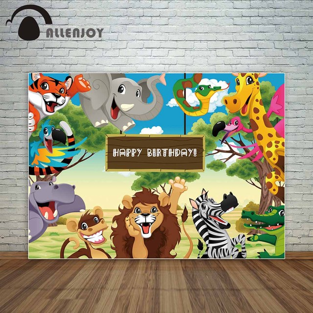Allenjoy Happy Birthday backdrop with Jungle animals Cartoon style on savannah decoration photography studio funds