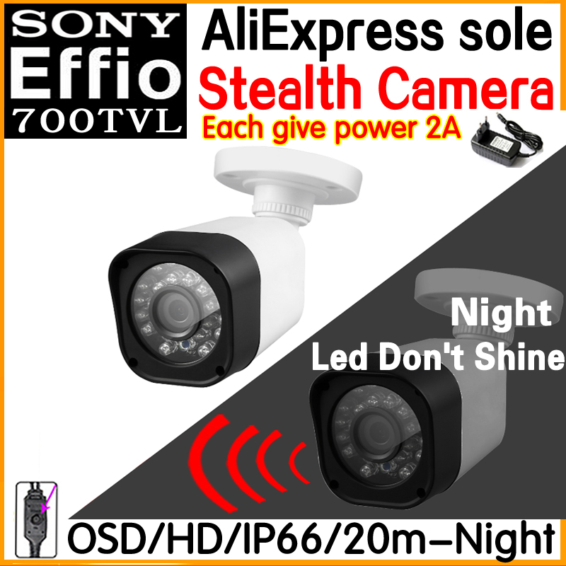 New Technology Night vision Stealth camera 1/3Sony Effio ccd 700tvl Hd cctv Security Surveillance cam OSD meun Waterproof IP66 give 2a power hd 1 3sony effio e ccd 700vl security surveillance dome cctv camera osd meun blue 24led hd night vision vidicon