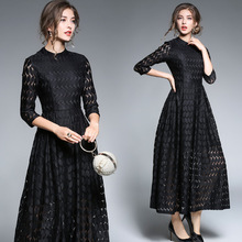 new women's clothing 2017 temperament lace broken seven sleeve sleeve length long big dress vestidos