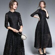 new women s clothing 2017 temperament lace broken seven sleeve sleeve length long big dress vestidos