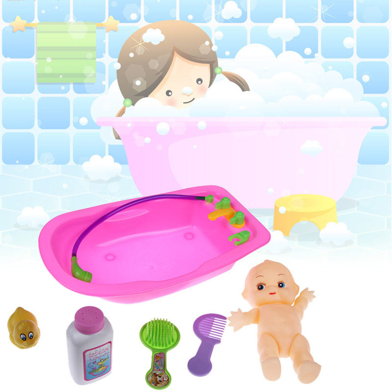 6pcs baby bath kits newborn infant baby plastic doll in bath tub with duck bathroom accessories. Black Bedroom Furniture Sets. Home Design Ideas