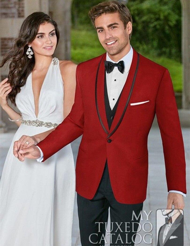 Свадьба смокинг красный жених носить костюм-тройку мужчины жених костюмы 2016 бесплатная доставка