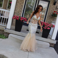 Sparkle Crystal Mermaid Long Evening Dress V neck Floor Length Women Arabic Evening Gowns 2018 robe de soiree