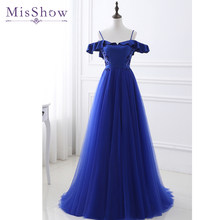2018 Spaghetti Straps Long Evening Dress Vestido de Festa A-line Sexy Off shoulder gown dresses robe de soiree Party Prom Dress(China)