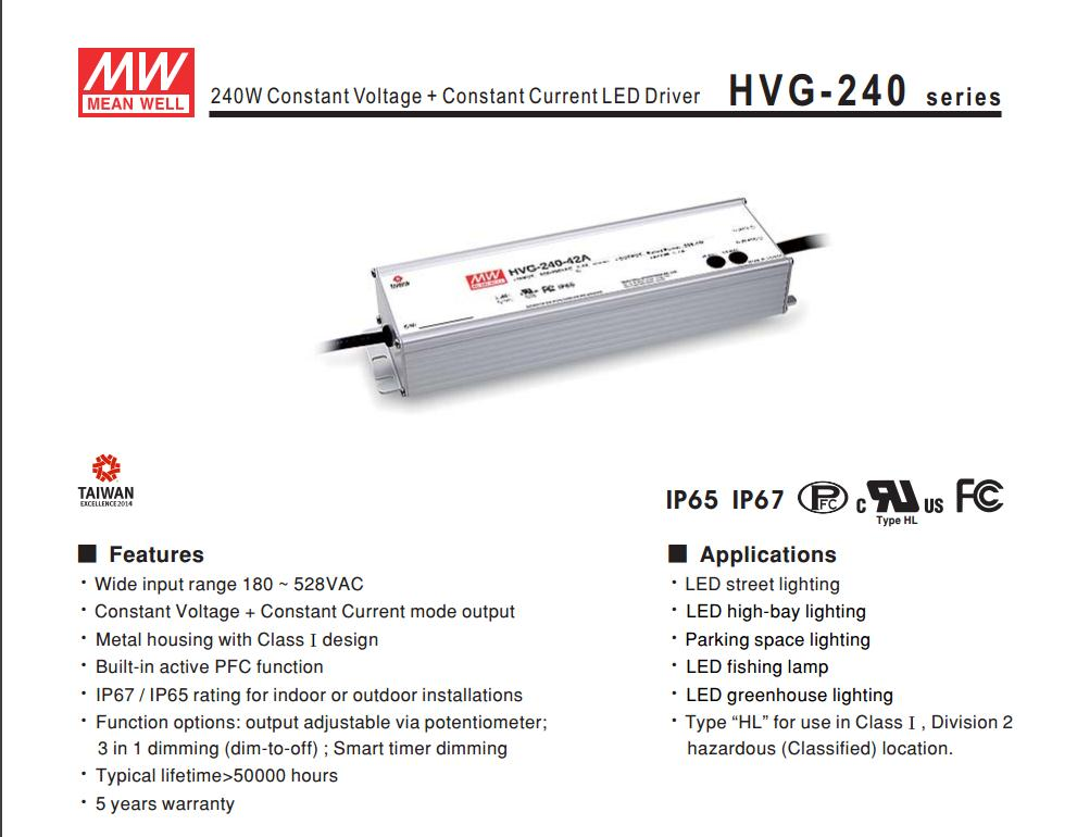Advantages MEAN WELL original HVG-240-42A 42V 5.7A meanwell HVG-240 42V 239.4W Single Output LED Driver Power Supply A type