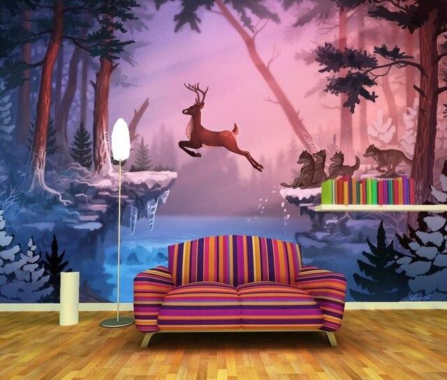 Deer Wolves Winter Nature Animals photo wallpaper,ktv bar living ...