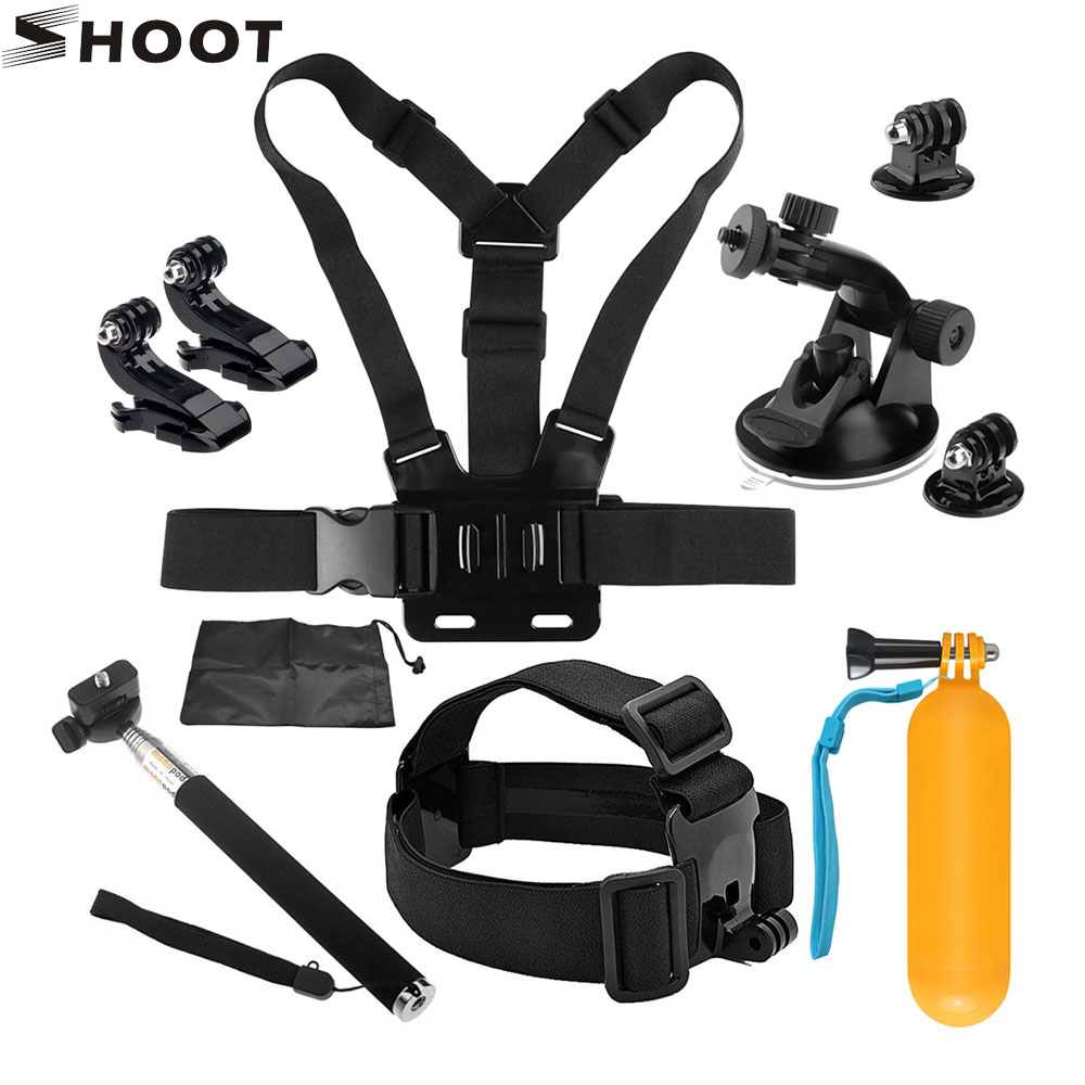 SHOOT Action Camera Accessories for GoPro Hero 6 5 7 SJCAM Xiaomi Yi 4K H9 Go Pro Tripod Holder Monopod Strap Mount for Go Pro 7 shoot jaws flex clamp mount for gopro hero 7 6 5 xiaomi yi 4k sjcam eken h9r with bucket tripod holder for go pro hero accessory