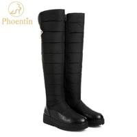 Phoentin overknee black snow boots warm winter zipper long boots women platform botte femme mid flat with snowshoes 2018 FT308