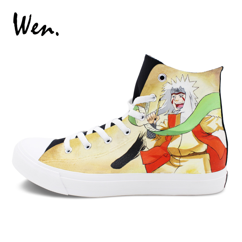 Wen Flat High-Top Athletic Sneakers Women Men Cartoon Design Anime Naruto Hand Painted Shoes Itachi Jiraiya Graffiti Painting диван sunset серый жемчуг 160 x 210