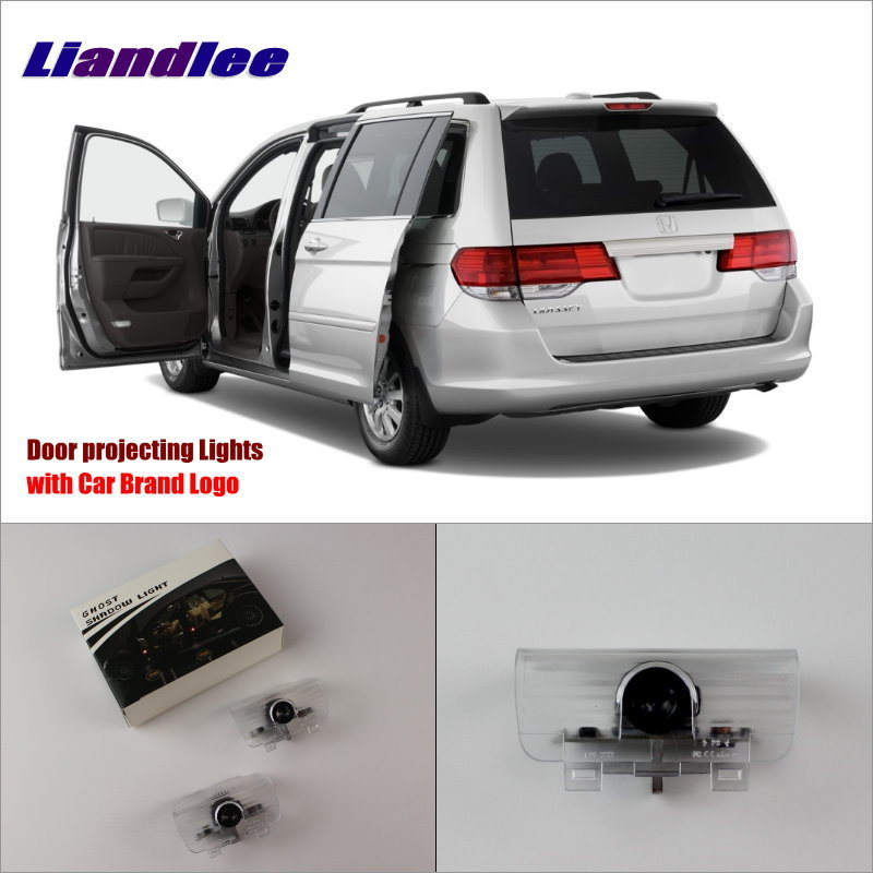 Liandlee Car Logo Light Door Welcome Lights Ghost Shadow Projector Lamp For Honda Odyssey 2002~2015 LED Courtesy Doors Lamps for skoda octavia led 3w welcome car door logo lights projector laser ghost 3d shadow accessories original door light replace