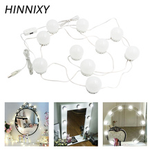 Hinnixy Makeup Mirror Vanity LED Light Bulbs Cold White USB Dimmable Dressing Table With Switch Decor Wall Lamp Brightness light giantex white tri folding mirror vanity table stool set modern makeup dressing desk with 4 drawers wood dressers hw54073wh