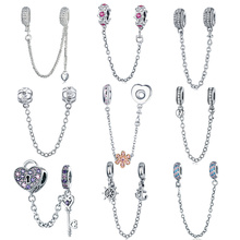 INBEAUT Hot Sale 100% Genuine 925 Sterling Silver CZ Heart Key Anchor Dasiy Beads Safety Chain Charms fit Pandora Bracelet Gift 100% s925 sterling silver key chain personality fashion retro punk style heart shaped sword design gift 2018 new hot sale