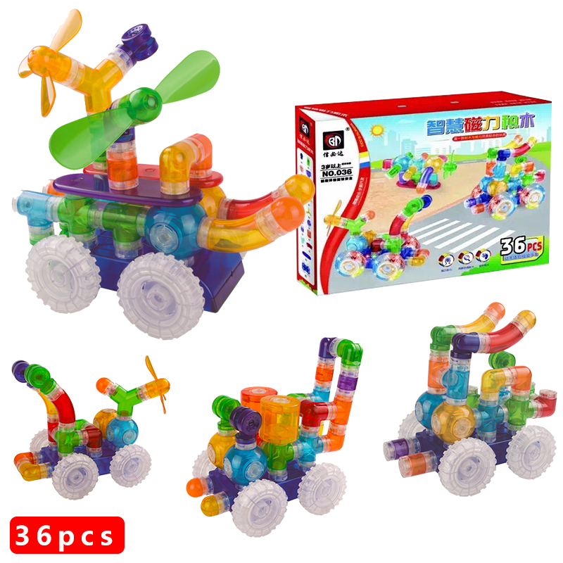 New Arrival 36pcs Magnet Toys For Kids Magnetic Pipe Building Block Children DIY Educational Construction Enlighten Baby Toys 1 set magnetic building block toys for babys kids children magnets training children diy designer educational toys