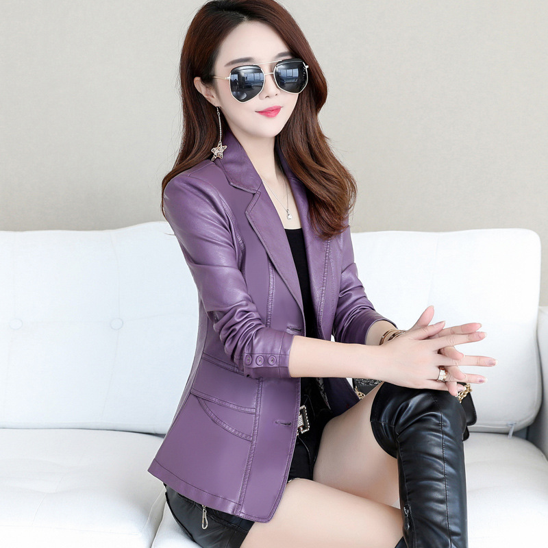 High-end boutique new solid color sheep   leather   women's locomotive Slim waist slimming small suit jacket