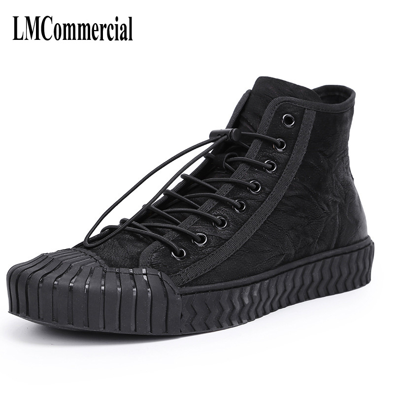 winter trend of Korean men high shoes men's casual boots British retro breathable sneaker fashion boots handmade 2017 new autumn winter british retro zipper leather shoes breathable sneaker fashion boots men casual shoes handmade