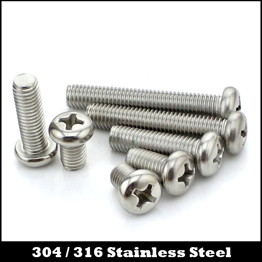 M3 M3*3/4/5/7 M3x3/4/5/7 304 316 Stainless Steel 304ss 316ss DIN7985 Bolt Philips Cross Recessed Round Pan Head Screw