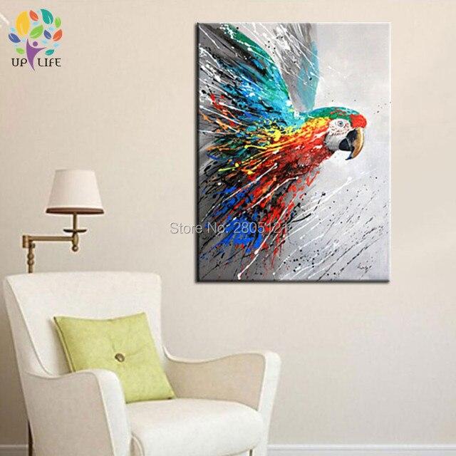Hand Bemalte Leinwand Bild Fliegen Vögel Wand Leinwand Kunst Papagei  ölgemälde Moderne Home Dekorative Grafik