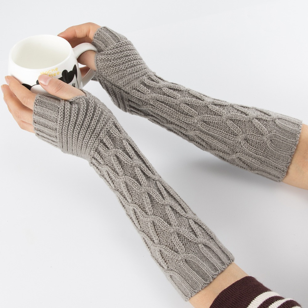 New Winter Knitted Fingerless Gloves Mittens Long Arm Warmers For Girls Men Women Thread Knitting Arm Sleeves Elbow Mittens