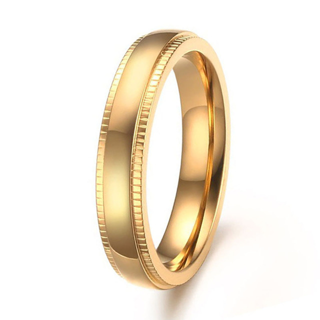 Gold Color Stainless Steel 4mm Comfort Fit Wedding Band Ring For Men And Women Milgrain Edges